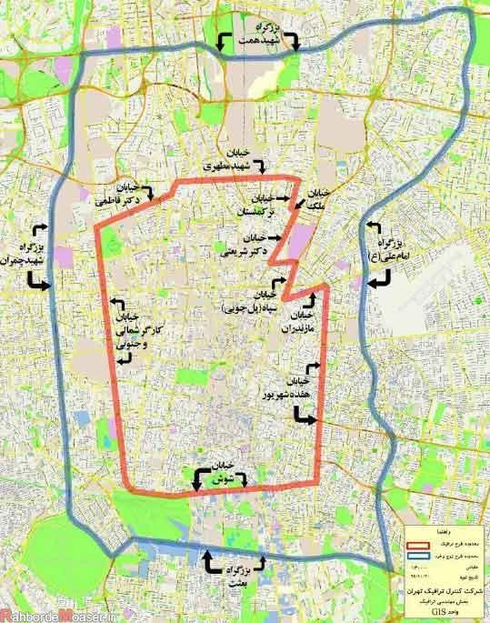 نقشه طرح ترافیک تهران